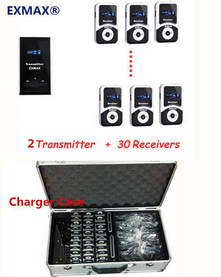 Wireless Tour Guide System ATG-100T 2 Transmitter 30 Receivers With Charger Case