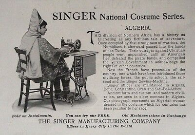 "1899 Ad (1800-25)~The Singer Mfg. Co. Singer National Costume Series ""algeria"""