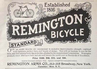 1895 Ad(1800-1)~Remington Arms Co. Ilion, Ny. Remington Bicycles