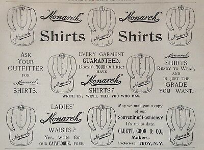 "1895 Ad(1800-1)~Cluett, Coon & Co. Troy, Ny. ""monarch"" Shirts"