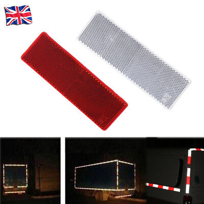 2X Car Rectangular E-Approved Reflectors For Trailer Caravan GatepostsWhite+Red