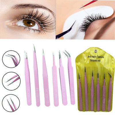 6pcs Practical Precision Tweezer Set Stainless Steel Eyebrow Eyelash Tweezers