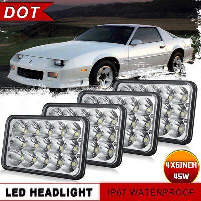 Clear LED 4x6'' Rectangular Projector CREE LED Headlight High-Low Beam New Lamp