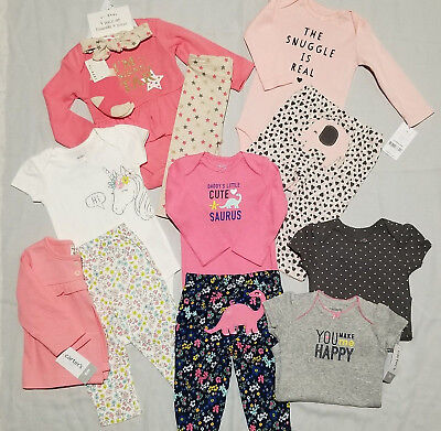 New Infant Baby Girl Outfit Lot 13 pcs Size 6 mo Carter's Playbaby NWT