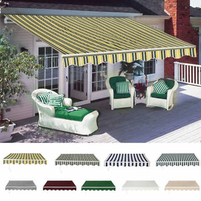 Manual Awning Canopy Outdoor Patio Garden Sun Shade Shelter Top Fabric