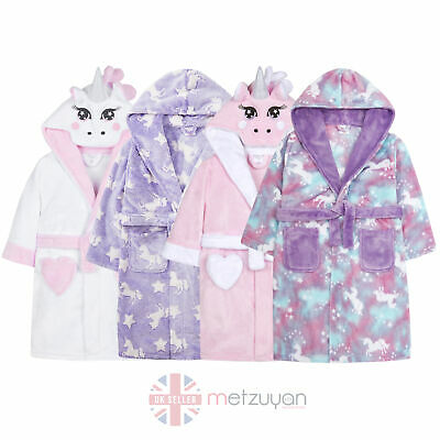 Infant Girls Unicorn Dressing Gown Novelty Robe Children Pony Heart Pockets New