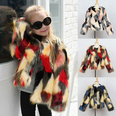 Toddler Kids Baby Girl Winter Warm Clothes Faux Fur Thick Solid Coat Outwear