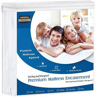 Bed Bug Matress Protector Encasement Hypoallergenic Waterproof Cover Bedbug Pad