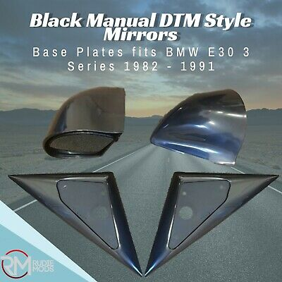 Black Manual DTM Style Mirrors & Base Plates fits BMW E30 3 Series 1982 - 1991