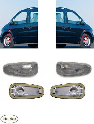 Mercedes V-Class W638 1996-2003 2X Side Indicator Repeaters Pair L + R Smoked
