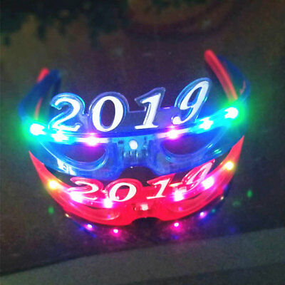 Number 2019 LED Flashing Glasses Luminous Headband Glow Party Prop Decor Beamy
