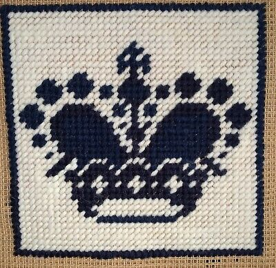 Mini Modern Tapestry: Unique Handmade 'Crown' (with Blue Border) Sampler