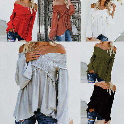 Womens Off Shoulder Tops Ladies Loose Casual Long Sleeve Blouse Ruffle T-Shirt