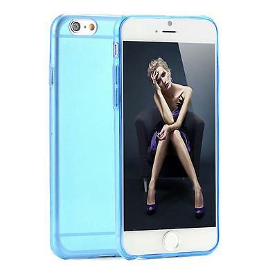 COQUE TRANSPARENT ULTRA MINCE TPU DOUCE FLEXIBLE 0.1 mm BLEU POUR IPHONE 6 PLUS