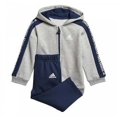 Adidas Infants 3-Stripe Fleece Hooded Track Suit (Grey / Navy)