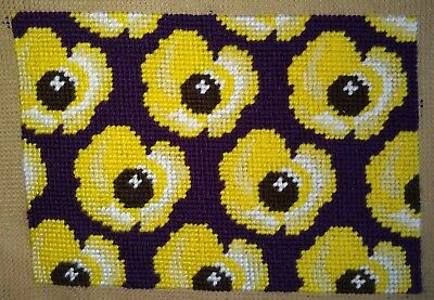 Modern Tapestry: Unique Handmade 'Yellow Posies' Sampler