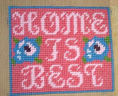 Modern Tapestry: Unique Handmade 'Home is Best' Sampler
