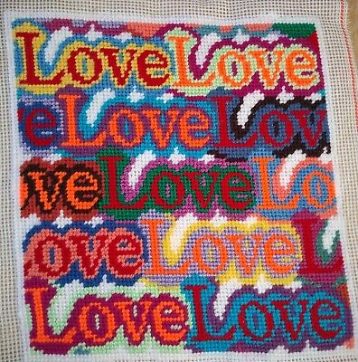 Modern Tapestry: Unique Handmade 'Love Love Love' Sampler