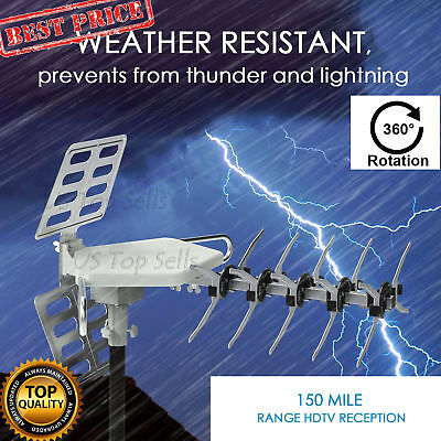 Outdoor TV Antenna 150 miles HDTV Long Range Amplified 360 Degree Rotation Infra