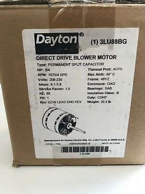 Dayton 3Lu88Bg- 3/4Hp, 1075/4Spd, 208-230V Direct Drive Blower Motor