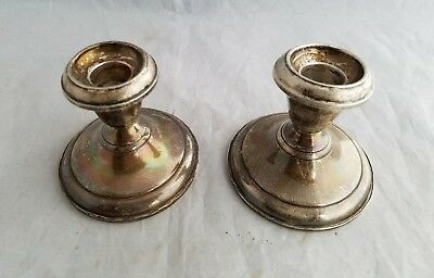 Set of 2 Pair Garden Silversmith's weighted Sterling Silver Candle Stick Holders