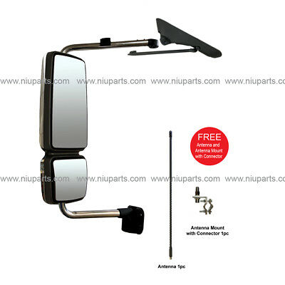 Door Mirror with Arm Chrome LH Fit: International 4300 4400 7400 7600 8500 8600