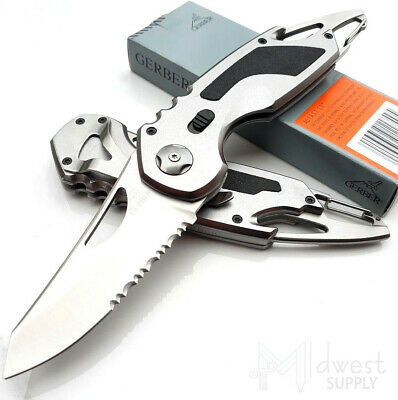 """Gerber FAST A/O Folding Knife 3"""" Part Serrated Stainless Blade Aluminum Handle"""