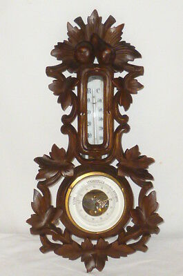 Altes Jugendstil Holz Barometer Thermometer Wettergerät Wetterstation carved RAR