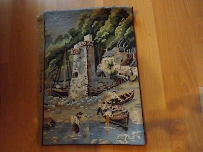 "Lynmouth Harbour Completed Wool Tapestry   Size 15.75"" x 11.5"""