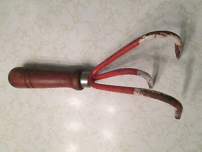 Vintage Hand Cultivator 3 Tine Claw Garden Old Farm Tool Antique Flower