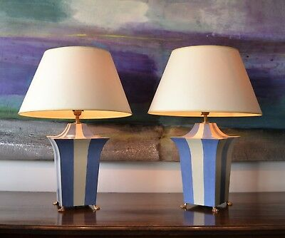 A Pair of Vintage French Hand Painted Tole Blue Brass Gilt Hall Side Table Lamp