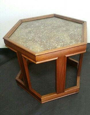 John Keal For Brown Saltman Hexagonal End Table   Mid Century Modern    Walnut