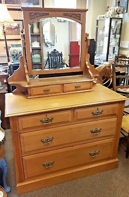 Antique Edwardian c1901 Satinwood Dressing Chest Mirror & Drawers VGC