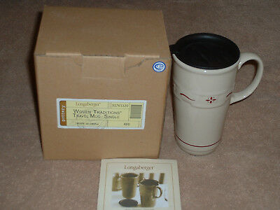 Longaberger Pottery Woven Traditions Red Travel Mug 10oz  New In Box