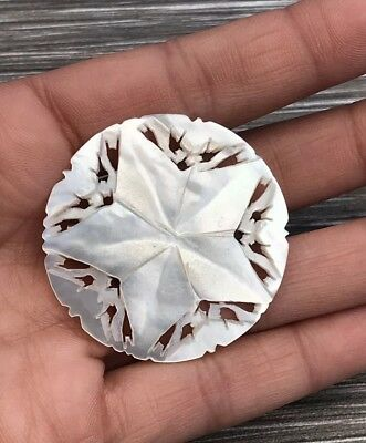 Vintage Mother Of Pearl Carved Star Brooch From Bethlehem Religious Spiritual !