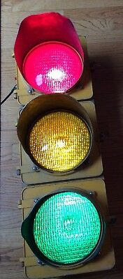 "Vintage Crouse Hinds 3 color working Traffic Light 8"" lenses"