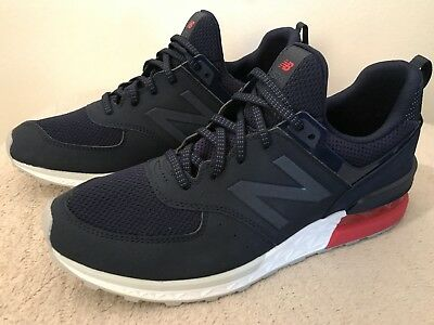 brand new 66373 092ee NEW BALANCE 574 Sport Running Shoes Navy Red White Mens Size 10 D MS574SCO