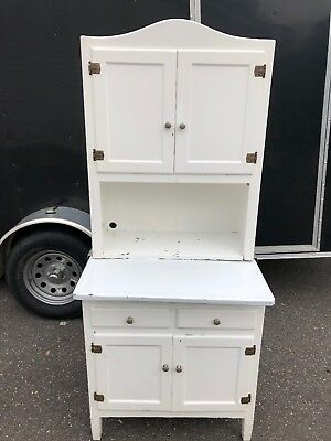 Vintage Antique White Kitchen Hoosier Cabinet Pantry