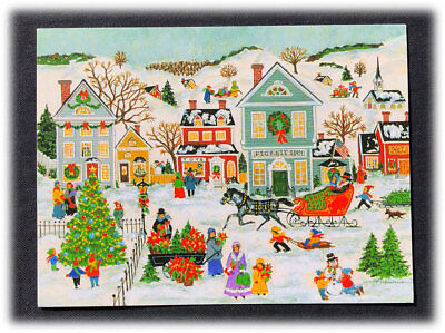 vintage corvacchio winter village old fashioned merry christmas new year card