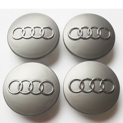 4PCS 60mm Wheel Center Hub Caps Cover Wheel Rim Logo Badge Emblem For Audi Gray