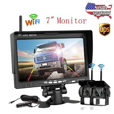 "7"" Monitor + 2x Wireless Rearview Backup Night Vision Camera for RV Truck Bus"