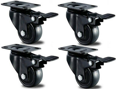 4 X Heavy Duty Swivel Castor Wheels Trolley 50mm Furniture Casters Rubber 200kg