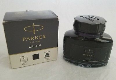 PARKER QUINK Bottle Ink Black Box 57 ml    - Free Shipping -