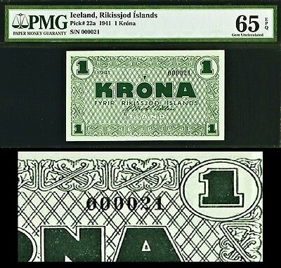 Iceland One Krona GREEN 1941 Very LOW Serial 000021 Pick-22a GEM UNC PMG 65 EPQ