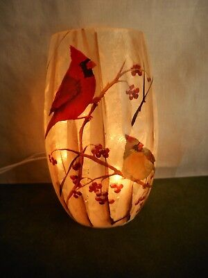 "Winter Cardinals Lighted Glass Vase Luminary 5"" tall Works Excellent Condition"
