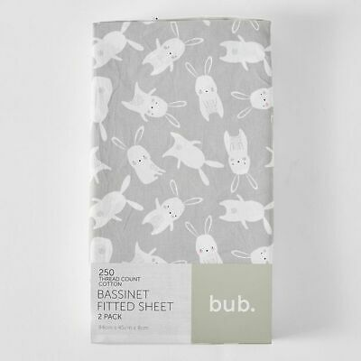 NEW 2 Pack Fitted Bassinette Sheets