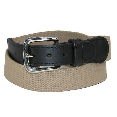 New Boston Leather Men's Cotton Web Belt with Leather Tabs