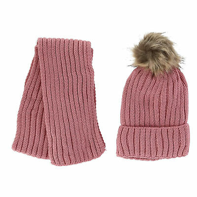 New Foemo Kids' Ribbed Knit Winter Hat and Scarf Set