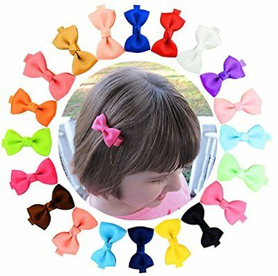 20 Pcs Baby Girls Hair Bows Grosgrain Ribbon Clips For Infant Toddlers Kids -mul