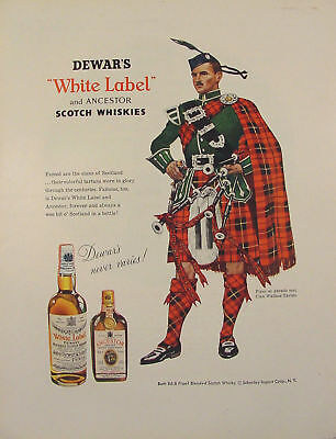 1957 Dewar's White Label Whisky Piper Clan Wallace Tartan Print Ad Bagpipes